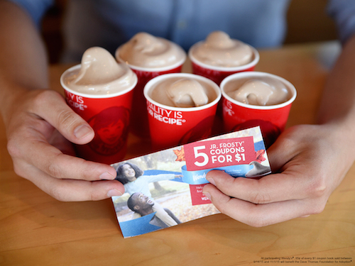 You can pick up a book with 5 or 10 free Jr. Frosty coupons at Wendy's! Their sale helps support the Dave Thomas Foundation for Adoption!